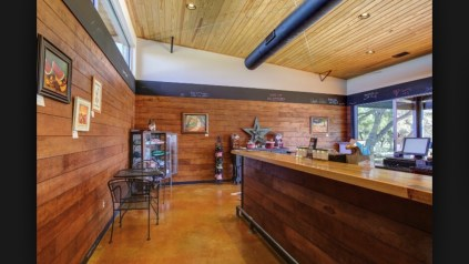 Finished interior of tasting room area.
