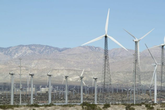 Palm Springs wind farms still maintaining a few functioning early wind turbines.  They will gradually be replaced by newer wind turbines as their maintenance becomes unfeasible.