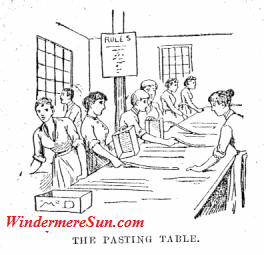Nellie Bly working in a factory producing boxes