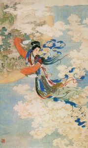 Mid-Autumn Festival-Chang'e Flying to the Moon (嫦娥奔月) (Artist-Ren Shuai Ying (任率英), Photographer-Ren Shuai Ying),now in China's National Museum of Fine Arts(中國美術館典藏)