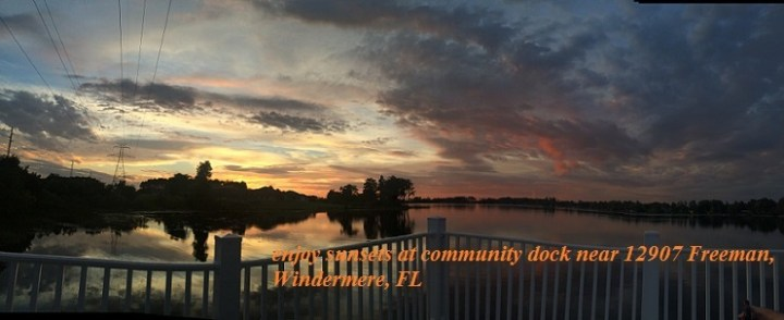 Community Dock may be used by residents of Lakes of Windermere to watch sunrise, sunset, boating, fishing, light plane taking off or landing.... (photo credit: Windermere Sun-Susan Sun Nunamaker)