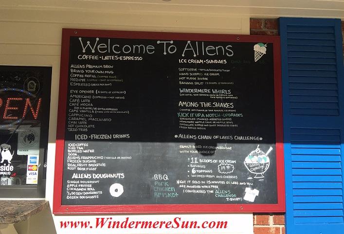 Allen's Creamery & Coffee House exterior, menu, 523 Main Sstreet, Windermere, FL (credit: Windermere Sun-Susan Sun Nunamaker)