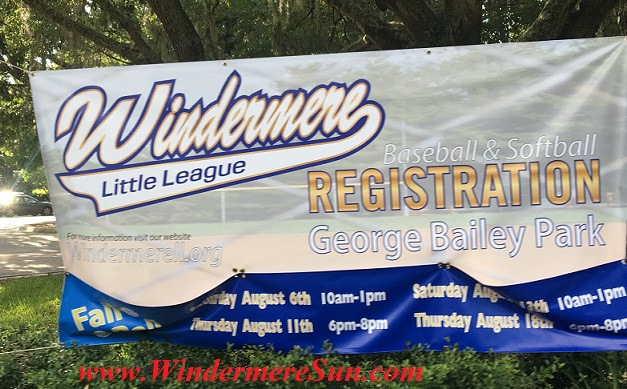 Windermere Little League Registration Banner (credit: Windermere Sun-Susan Sun Nunamaker)