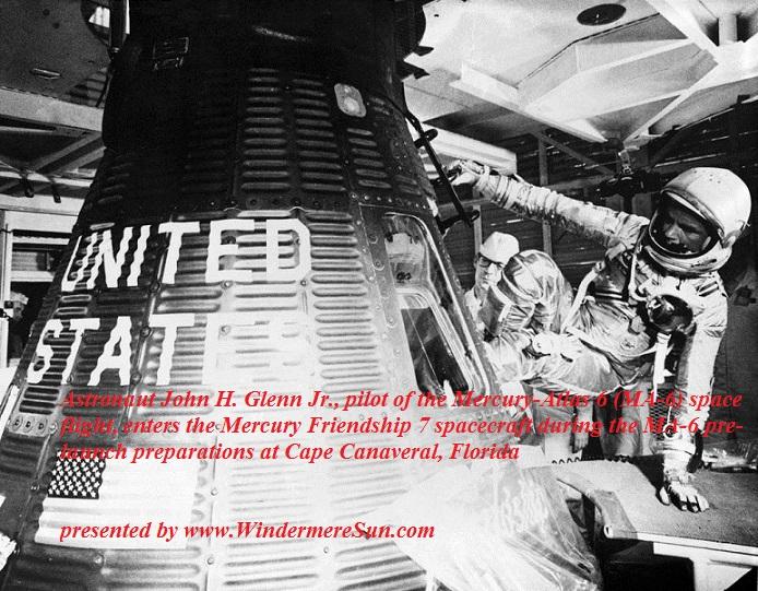 Astronaut John H. Glenn, Jr., pilot of the Mercury-Atlas 6 (MA-6) space flight, enters the Mercury Friendship 7 spacecraft during the MA-6 pre-launch preparations at Cape Canaveral, Florida final.