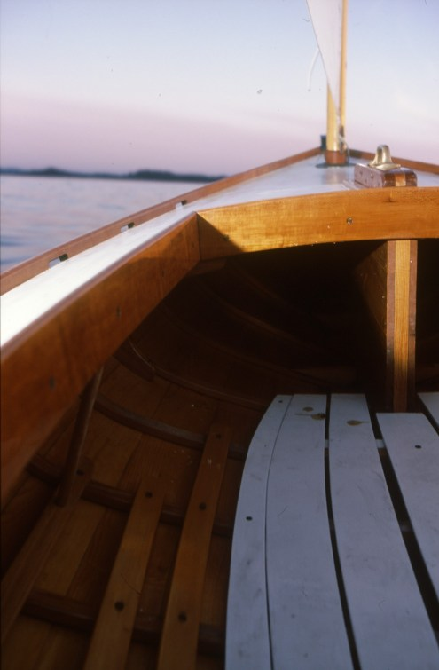 Bow of a melonseed sail boat built by Windfall Woodworks