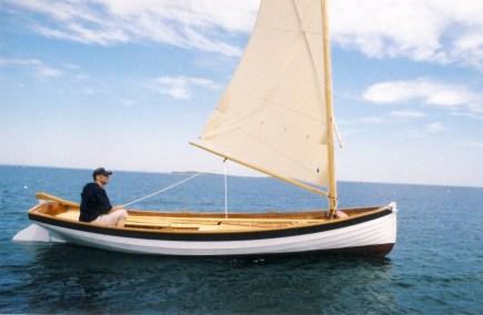 Drag boat by Windfall Woodworks sailing near Cuttyhunk