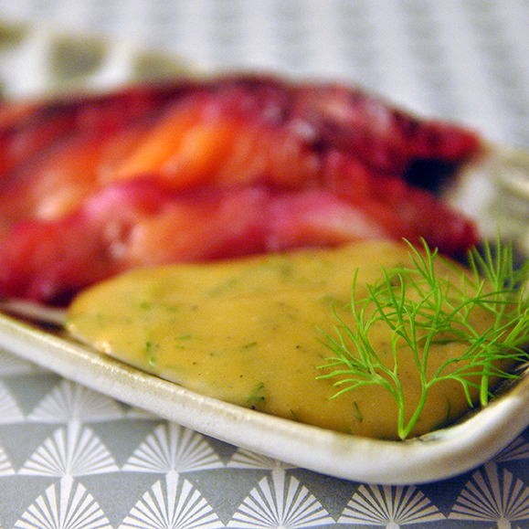 red gravlax and mustard dressing recipe
