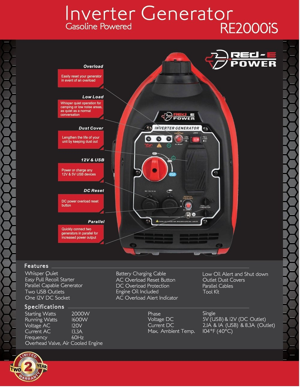 RED-E Power RE2000IS Generator ($899)