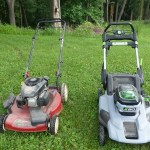 Gas and EGO cordless lawnmower