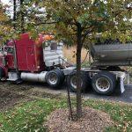 Truck bringing rocks.