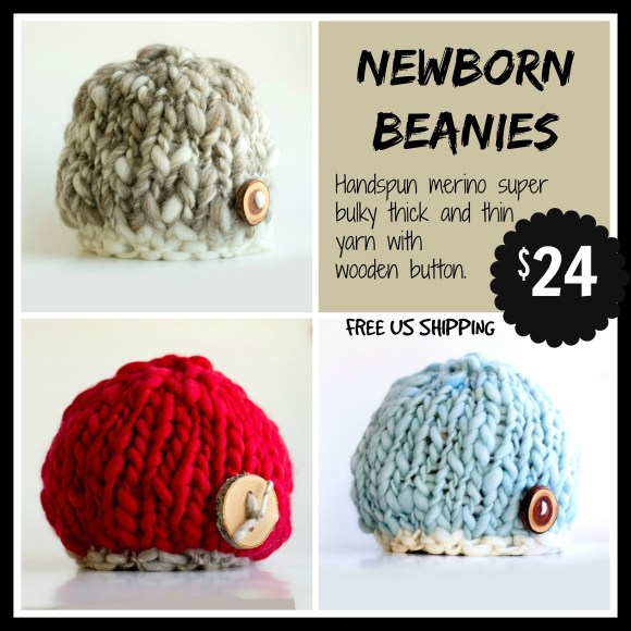 newborn hats, beanie, hand knit, handspun, thick and thin, merino, photography props,