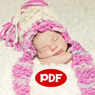 knitting pattern for newborn, chunky Newborn Aviator Hat - Newborn Photography Prop Thick and Thin Handspun Yarn