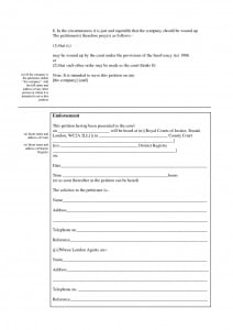 Blank Winding Up Petition Form 2