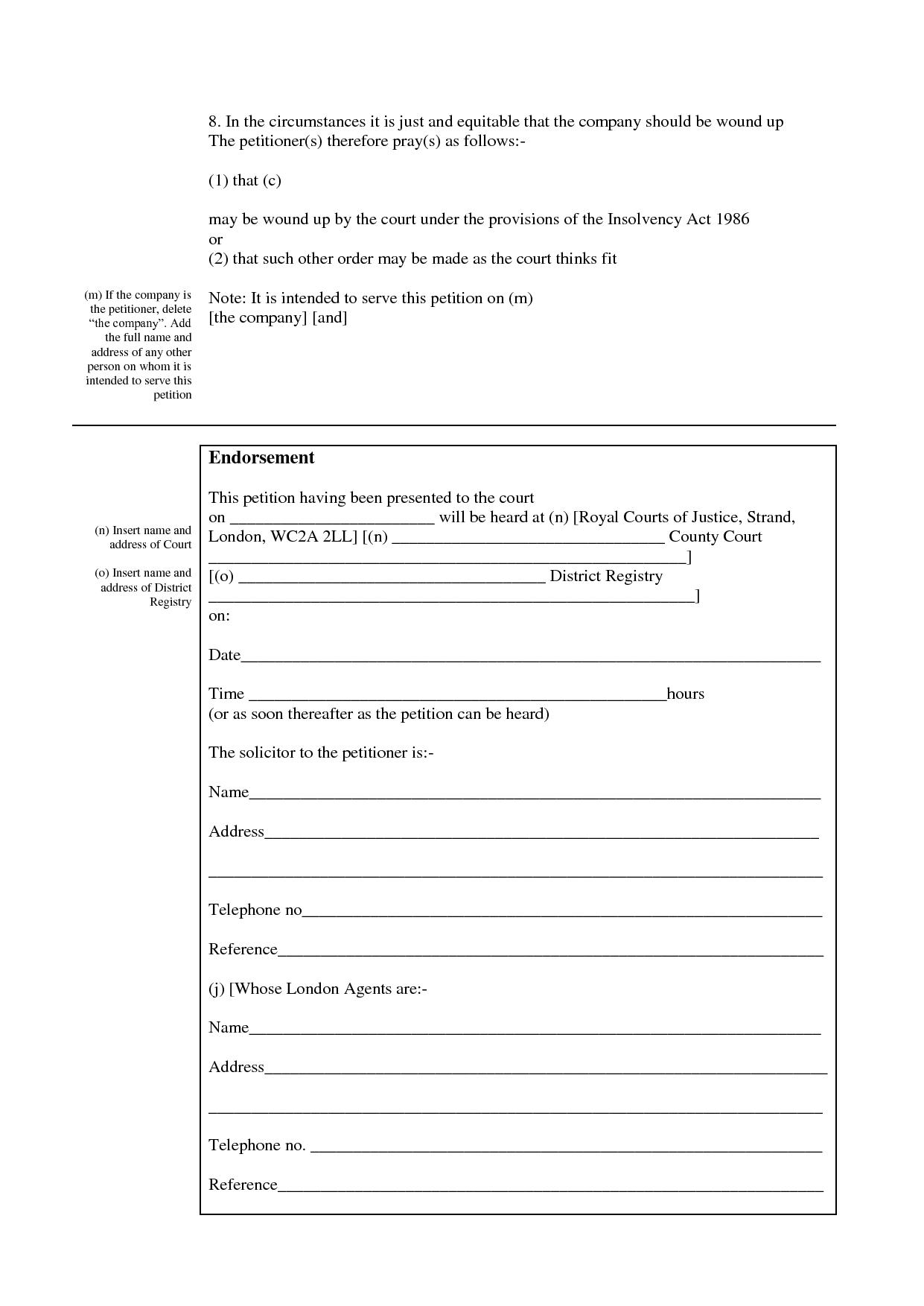 Blank winding up petition form download in pdf or doc for Templates for petitions