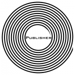 """graphic button that says """"publisher"""""""