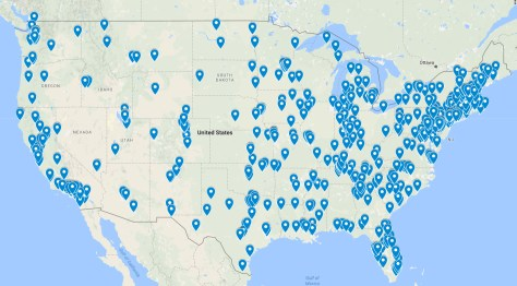 Music distribution map of records stores.