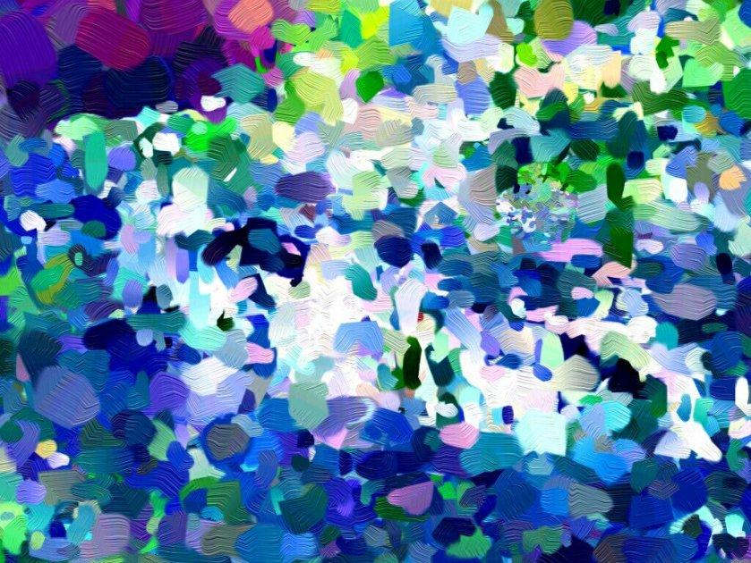 pointilistisches Gemälde des blauen Sees