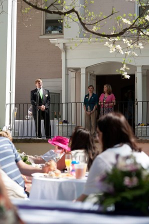 Brenau University President Ed Schrader gives a speech before the Champagne toast during Alumnae Reunion Weekend on Brenau's Gainesville campus.