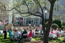 Alumnae meet and greet on the WIlkes Lawn before Brenau University President Ed Schrader gives his champagne toast.