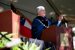 Brenau University President Ed Schrader addresses graduates.