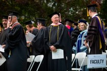 Ben Leaptrott, a professor of music at Brenau University, with other faculty members during this year's Women's College commencement.