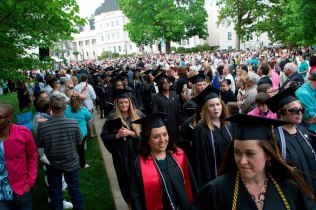 Brenau Women's College graduates recess from this year's commencement ceremony through the Daniel Pavilion.