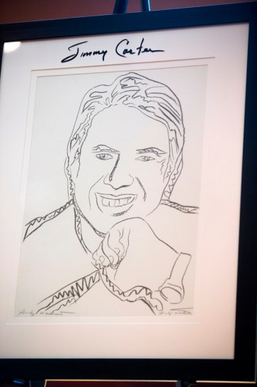 Jimmy Carter's signature on Brenau University Jimmy Carter portrait from 1977 done by Andy Warhol.