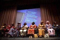 The delegation from the Nigerian Quintessential Business Women Association answered questions and told stories about their lives and business ventures in the Hosch Theatre.