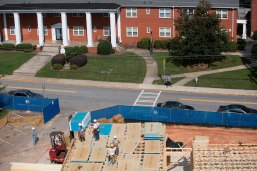After the concrete was poured crews began framing the first of the new sorority houses along Prior Street on Brenau University's Gainesville campus.