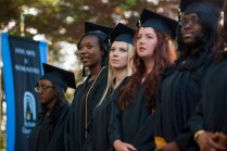 Brenau Women's College seniors sing the Alma Mater during this year's commencement.