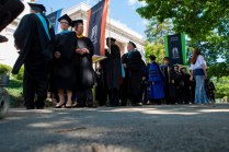 Faculty members prepare to process before the start of the 2015 Women's College Commencement