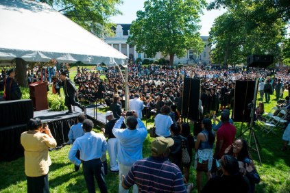 Graduates take to the stage during this years undergrad and graduate commencement at Brenau.