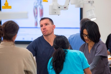 Steven Olsommer and Aashna Patel work in the new anatomy lab at the Brenau Downtown Center.
