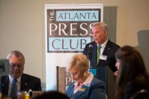 Long-time member of the Brenau Board of Trustees Philip Wilheit welcomes the Governor and guests to the Brenau-sponsored Atlanta Press Club newsmaker luncheon.