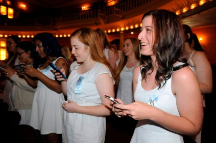 Current students sing to seniors in Pearce Auditorium during Class Day Saturday, April 11, 2015 in Gainesville, Georgia. (Photo Barry Williams / Brenau University)