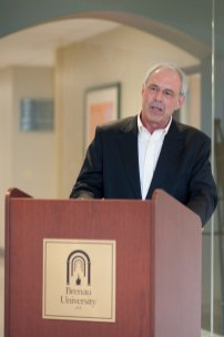 John R. Cleveland speaks during the celebration to honor the dedication of The Cleveland Physical Therapy Lobby at the Brenau Downtown Center on Friday, July 3, 2015, in Gainesville, Georgia. (AJ Reynolds for Brenau University)