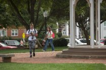 Students enjoy the newly renovated campus green.