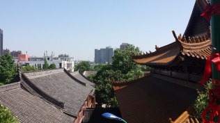 This is a view of Wuhu from the Guangji Monastery. I thought the contrast between the ancient temple roof and the modern construction that characterizes the city today was interesting.