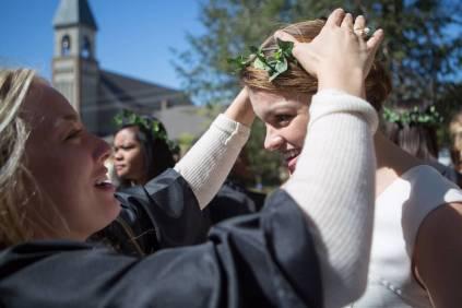 MK Jabbia, a senior biology major, crowns Madison Kosater, a junior history/political science major, during the Brenau University Alumnae Reunion Weekend on Saturday, April 16, 2016, in Gainesville, Ga. (AJ Reynolds/Brenau University)