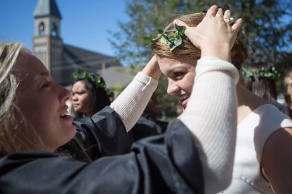 MK Jabbia, a senior biology major, crowns Madison Kosater, a junior history/political science major, during the Brenau University Alumnae Reunion Weekend on Saturday, April 16, 2016, in Gainesville, Ga. (AJ Reynolds/Brenau University)