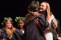 Brittany Brookins, a health science and pre-nursing major, gets a hug from Meg Bronaugh, a senior nursing major, after receiving the Greek Spirit Award at Class Day during the Brenau University Alumnae Reunion Weekend on Saturday, April 16, 2016, in Gainesville, Ga. (AJ Reynolds/Brenau University)