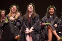 Diane Honan, from left, Meg Bronaugh and Denise Sunga laugh at Class Day during the Brenau University Alumnae Reunion Weekend on Saturday, April 16, 2016, in Gainesville, Ga. (AJ Reynolds/Brenau University)