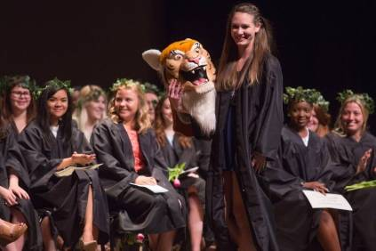 Dayle Lane, a senior organizational leadership major, is unveiled as H.J. the Brenau Mascot at Class Day during the Brenau University Alumnae Reunion Weekend on Saturday, April 16, 2016, in Gainesville, Ga. (AJ Reynolds/Brenau University)