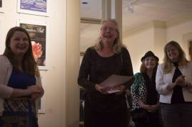 Mary Erna Scovel, an art education major, reacts after receiving the 'Best in Show' award at the Brenay Collaborative Opening Reception during the Brenau University Alumnae Reunion Weekend on Saturday, April 16, 2016, in Gainesville, Ga. (AJ Reynolds/Brenau University)