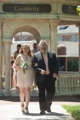 Abbey Goodman, senior class representative, escorted by her father, Dale Goodman. 2016 Alumnae Reunion Weekend
