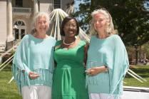 Marsha Stringer, WC '96, BU '03, '05 awards Carolyn Walter Darke, left, and Camille Walter Ashcraft the Outstanding Alumni Award. 2016 Alumnae Reunion Weekend