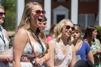 Katey Kibler Williams, WC '14, and Katie Barth, WC '14, react during the deception of the Alpha Delta Pi sorority house during the Brenau University Alumnae Reunion Weekend on Saturday, April 16, 2016, in Gainesville, Ga. (AJ Reynolds/Brenau University)
