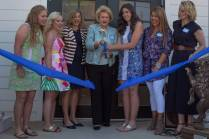 Sara Jane Bowers, from left, Cassidy Collier, Jan Maisch, Carole Ann Daniel, Katelyn Brown, Maggie Griffin and Kelley Robertson cut the ribbon on the Alpha Delta Pi sorority house during the Brenau University Alumnae Reunion Weekend on Saturday, April 16, 2016, in Gainesville, Ga. (AJ Reynolds/Brenau University)