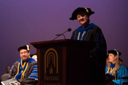 Dean of the College of Health Sciences Gale Starich speaks during the Brenau University College of Health Sciences Graduate Hooding Ceremony on Thursday, May 5, 2016. (AJ Reynolds/Brenau University)