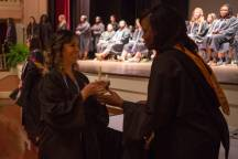 Christina MacCorkindale receives her lamp during the Brenau University School of Nursing Pinning Ceremony on Thursday, May 5, 2016 in Pearce Auditorium in Gainesville, Ga. (AJ Reynolds/Brenau University)